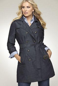 <3 blue denim trench coat
