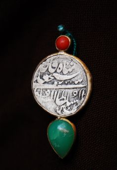 Handmade Persian calligraphy pin with jade stone