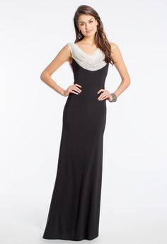 Studded Cowl Two-Tone Dress #camillelavie #CLVprom
