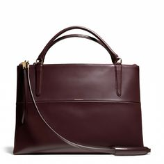 The Coach Large Borough in Oxblood Polished Calfskin. $898