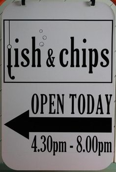 This is a vinyl sign I designed and cut for our fish and chip shop, I used black gloss vinyl for long term exterior use.