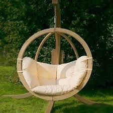 Globo Hanging Chair - contemporary - outdoor chairs - - by Garden Boutique Wooden Swing Chair, Wooden Garden Swing, Egg Swing Chair, Hanging Egg Chair, Wooden Swings, Swing Seat, Hammock Swing, Hammock Chair, Swinging Chair