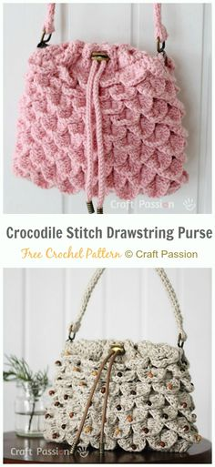 Crochet Drawstring Bags Free Patterns & DIY Tutorials: for kids and adults, drawstring shoulder bags, gift bags and pouches, drinks bags, dice.toy sacks and Crochet Drawstring Bag, Crochet Tote, Crochet Quilt, Crochet Purses, Drawstring Bags, Crochet Applique Patterns Free, Bag Pattern Free, Crochet Market Bag, Crocodile Stitch