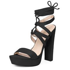 c67b8ad166ae Allegra K Women s Platform Lace up Strappy Sandals. Slender lace corsets up  the front and. Cute SandalsHeeled SandalsAnkle Strap SandalsStrappy Sandals Block ...