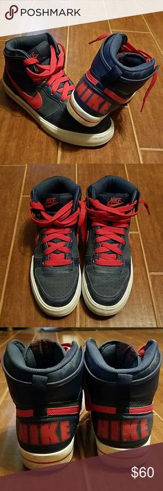 Men's casual Nike high tops Worn only a couple of times, in good condition Nike high tops in blue, red and white. Please see pictures for more details. Nike Shoes