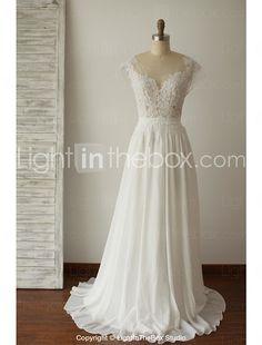 A-line Wedding Dress - Ivory Sweep/Brush Train Scoop Chiffon / Lace 2016 - $180.69