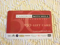 $50 Cameron Mitchell Restaurants Gift Card - Delicious Food! http://www.ebay.com/usr/whitebutterfly8
