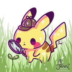 Detective Pikachu 💖🌱⚡ . . . #pikachu #detectivepikachu #pokemon #pika #sprout #babysprout #jennilustrations