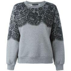 Moschino Boutique Lace Sweatshirt ($170) ❤ liked on Polyvore featuring tops, hoodies, sweatshirts, grey, lace top, lace sweatshirt, lacy tops, gray sweatshirt and grey sweatshirt