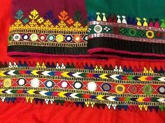 Cotton table runners with Sindhi embroidery.  See the mirrors?