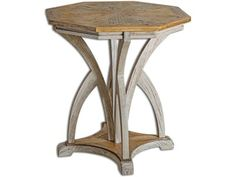 Combination of golden mango with aged white finish on carved mindi wood. Uttermost's accent tables combine premium quality materials with unique high-style design.