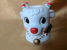 Vintage Reindeer Head Christmas Holiday Candle Candlestick