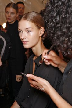 Spring 2015 l Backstage at NYFW:  Luminous beauty look by MAC Cosmetics.