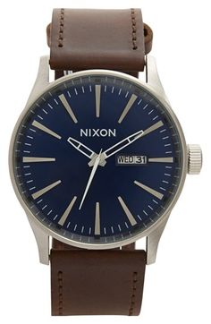 Nixon 'The Sentry' Leather Strap Watch, 42mm available at #Nordstrom