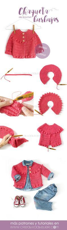 Aprende a Tejer una bonita Chaqueta de Crochet para niña con este Tutorial y patrón Gratis. Es muy fácil y además ¡dejarás a todos boquiabiertos!, Chaqueta de Crochet Burbujas para niña – Patrón y Tutorial –, # ✂❤ Baby Girl Crochet, Crochet Baby Clothes, Crochet For Kids, Crochet Jacket, Crochet Cardigan, Knit Crochet, Crochet Trim, Easy Crochet, Knitting Patterns