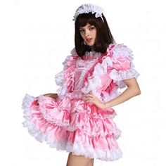 Gocebaby-Sissy-Girl-Maid-Satin-Pink-Lockable-Dress-Costume-Uniform-Crossdressing-0-2