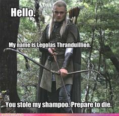 Normally I get annoyed when people make jokes about Legolas and how much he loves his hair.... But I laughed AT this one, so... XD