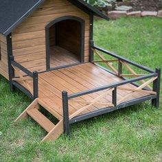 Wood Dog House with decorative rail surround doggie sun porch – OfficialDogHouse