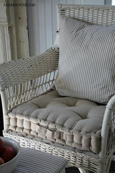 French mattress cushions made from ticking for the rockers and wicker bench. Oooh la la!