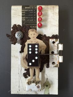 Boy Numbers  Mixed Media Assemblage by Vince Bertucci