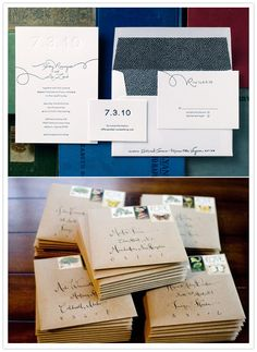 Line envelopes with pretty wrapping paper. Buy a custom stamp instead of calligraphy.