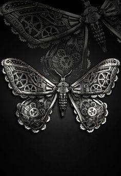Barrette papillon mécanique steampunk gothique