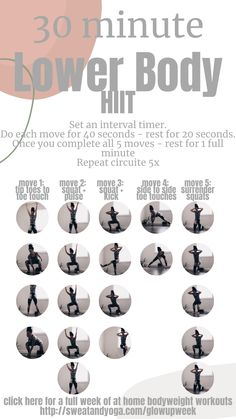 No gym? No problem? Get a good sweat in with this bodyweight HIIT workout For this at home workout ... Do each move for 40 seconds - take a 20 second break - once you've finished the 5 moves - take a full minute break and then repeat this circuit 5x total Once you're done come on over to @sweatandyoga and give me a follow for more workout ideas #sweatandyoga #workoutideas #homeworkout #workoutathome #lovetheskinyourein #athomeworkout #workoutmotivation #fitness 7 Day Workout Plan, Step Workout, Cardio Workout At Home, Workout Routines, Workout Ideas, Workout Challenge, Easy At Home Workouts, Cardio Workouts, Hiit