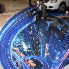 Напольная 3d наклейка в автосалоне