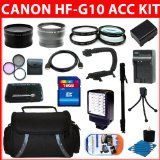 Advanced Accessory Kit For Canon VIXIA HF G10 HFG10 Flash Memory Camcorder Include Canon BP-808 Replacement Battery + Replacement Charger + 16GB SDHC Memory + Reader + Wide Angle Lens + Telephoto Lens + Filter Kit + Close UP Lens Kit + Video Light + Video Bracket + HDMI + Monopod + Deluxe Case + More
