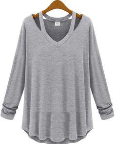 Grey V Neck Long Sleeve Hollow T-Shirt - Fashion Clothing, Latest Street Fashion At Abaday.com