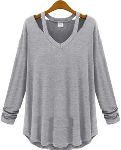 Grey V Neck Long Sleeve Hollow T-Shirt - Fashion Clothing, Latest Street Fashion At Abaday.com