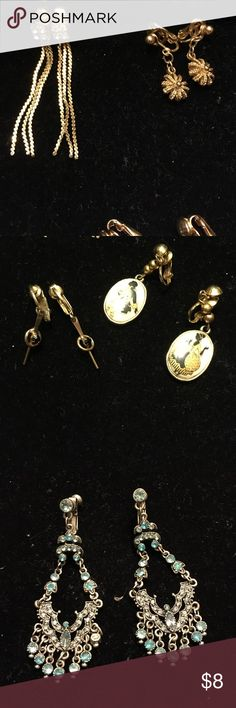6 Pairs of Vintage Clip On Earrings Gold and Silver Variety of Vintage Earrings (gently worn) 6 pairs Jewelry Earrings