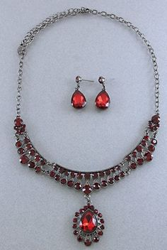 Red Crystal Necklace and Earrings Set, starting at $15