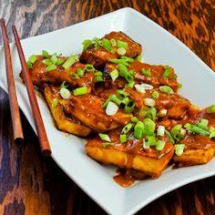 Spicy Vegan Peanut Butter Tofu with Sriracha