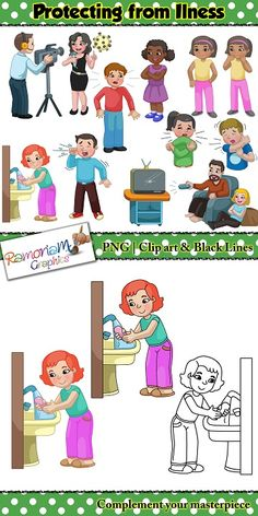 Virus Clipart set with the focus on personal hygiene and protecting yourself and others from sickness; the things you should do, and also the things you shouldn't do. #ramonam #ramonamgraphics #clipart #tpt #virusclipart #personalhygieneclipart #virusclipart #keepingsafeclipart