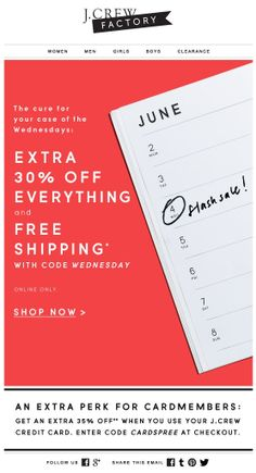 J.CREW Newsletter. Another example of a limited time offer using easy-to-find stock imagery.