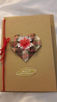 origami heart xmas card tartan £2.00