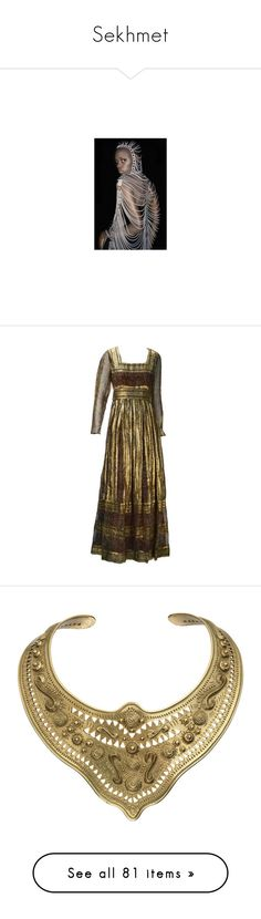 """Sekhmet"" by kitten89 ❤ liked on Polyvore featuring people, pictures, dresses, gown, vintage, evening dresses, brown vintage dress, paisley print dress, zipper dress and vintage dresses"