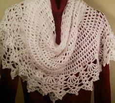 "Elegant Ewe crocheted shawl in Hayfield Exquisite Wisp DK yarn in White.  A Doris Chan ""All Shawl"" free pattern."