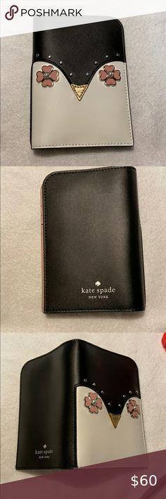 Kate Spade New York Shore Street Lacey Wallet Zip around Black Beige Dots NWT