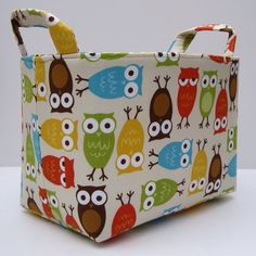 Storage and Organization - Fabric Organizer Container Bin Basket - Urban Zoologie -  Owls Bermuda. $18.00, via Etsy.