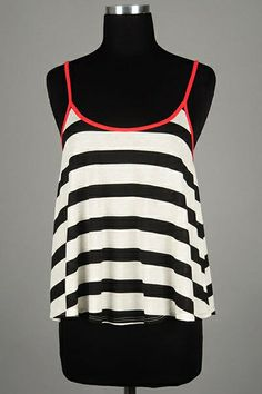 *** New Style *** Stripe Jersey Tank with Spaghetti Straps, Scoop Neck and Relaxed Swing Silhouette.