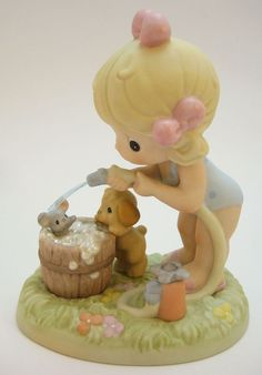 Precious Moments Squeaky Clean Girl With Hose & Barrel Bath Limited RARE 731048 - The newest addition to my collection!