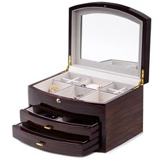 Ebony Zebra Wood Jewelry Box w/ Compartments, 2 Drawers, and Push Button Lock. Allurez offers the finest selection of Diamonds and fine jewelry. Wooden Jewelry Boxes, Jewellery Boxes, Jewellery Storage, Wooden Boxes, Woodworking Workshop Plans, Woodworking Box, Curved Wood, Jewelry Chest, Custom Gift Boxes