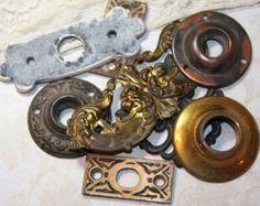 HARDWARE Salvage Altered Art Supply Lot Escutcheons Rosettes