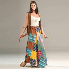 Hippie Clothing Patchwork Wrap Skirt