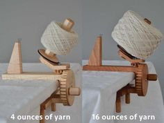 My sister is a crazy knitter. I am a crazy woodworker. I decided to make her the best yarn ball winder ever. It won a professional excellence award at the Northeastern Woodworking Show. Then I improved it, and that is what you see here.  This yarn winder is the most beautiful one you'll find. The cherry is hand selected from a local sawmill. The placement of the grain is intentional. The finish is minimal, and meant only to enhance the natural beauty of the wood. The design elements…