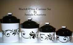 Tag black white kitchen ceramic storage canisters jars set for Hearth and home designs canister set
