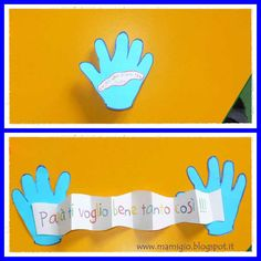 Five ideas for Father& or Mother& Day - odd jobs .- Cinque idee per la festa del papà o della mamma – lavoretti con le impronte Five ideas for Father& or Mother& Day – jobs with fingerprints Diy For Kids, Crafts For Kids, Bible Story Crafts, Diy Gifts For Dad, Daddy Day, Diy Upcycling, Father's Day Diy, Fathers Day Crafts, Happy B Day