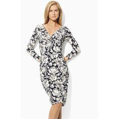 Lauren Ralph Lauren Jersey Sheath Dress Lighthouse Navy/ Cream Size 4 $134
